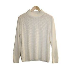 Allison Daley Petite White Mock Neck Sweater